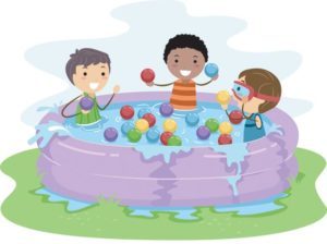 kids in pool illustration