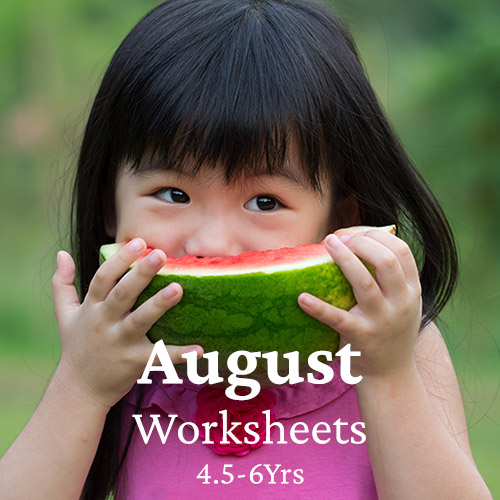 PDF Worksheet Bundle - August (4.5 Years to 6 Years)