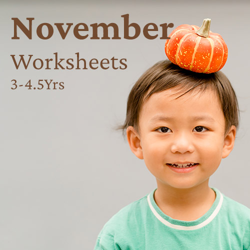 PDF Worksheet Bundle - November (3 Years to 4.5 Years)
