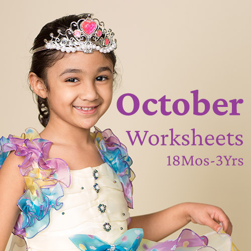 PDF Worksheet Bundle - October 2020 (18 Months to 3 Years)