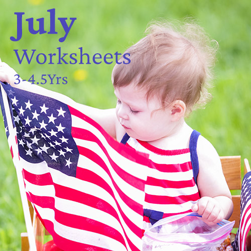PDF Worksheet Bundle - July (3 Years to 4.5 Years)