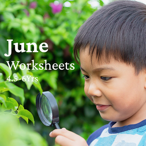 PDF Worksheet Bundle - June (4.5 Years to 6 Years)