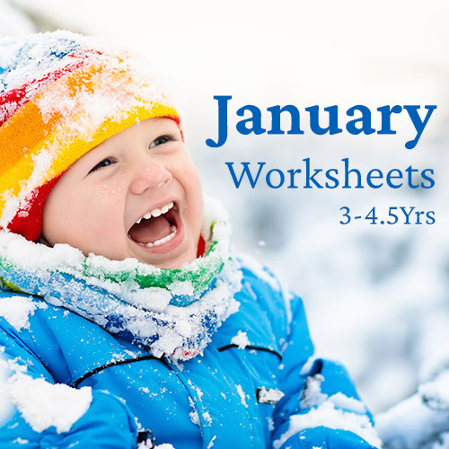 PDF Worksheet Bundle - January (3 Years to 4.5 Years)