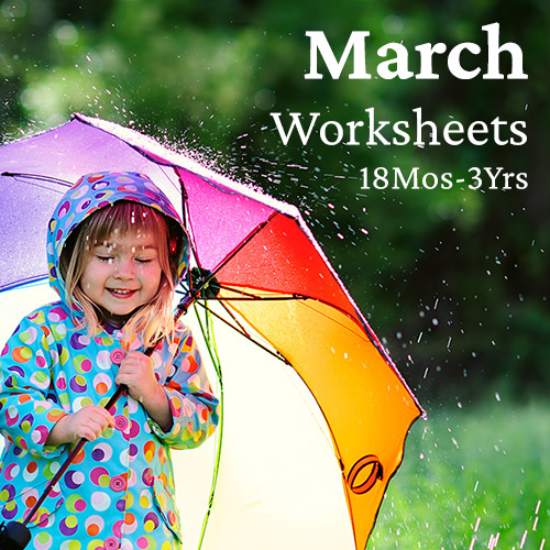 PDF Worksheet Bundle - March (18 Months to 3 Years)