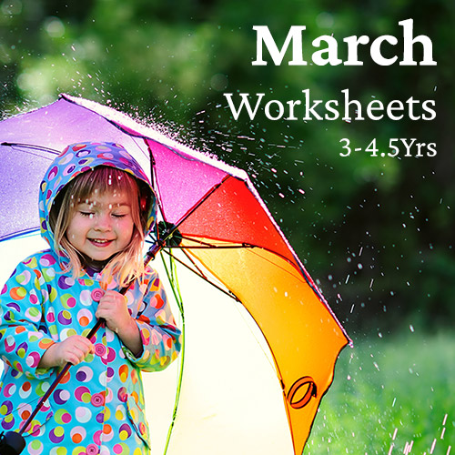 PDF Worksheet Bundle - March (3 Years to 4.5 Years)